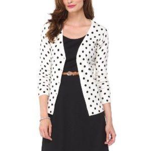 Merona white and black polka dot cardigan